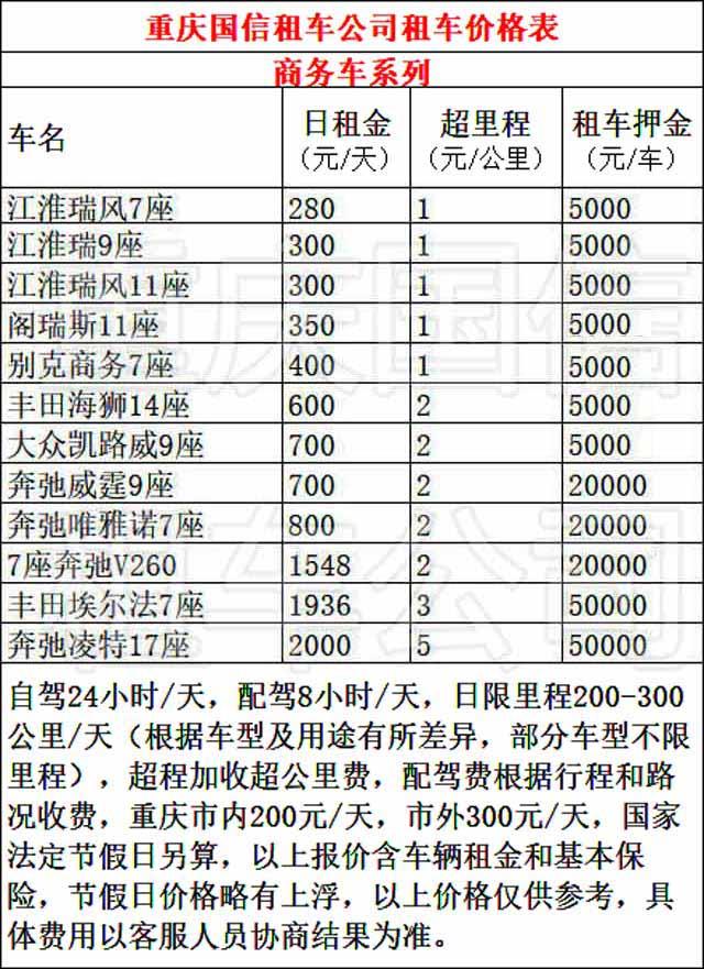 重庆大渡口商务车租车价格表